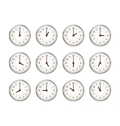 Set of clocks icons for every hour of day on white vector