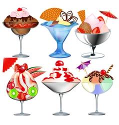 Set of fruit ice cream vector