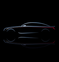 Silhouette of car with burning lights on a black vector