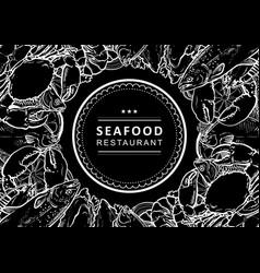 sketch underwater animal sea food pattern vector image
