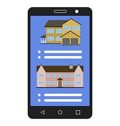 Smartphone with realty app House sale vector