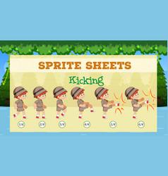 Spirte sheet boy kicking vector
