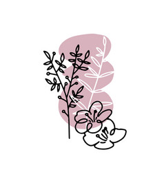 Spring flowers continuous line art abstract vector