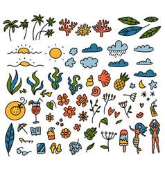 summer set design elements tropical leaves vector image