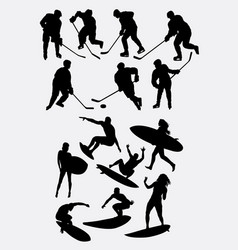 surfer and hockey sport silhouette vector image