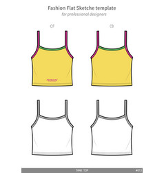 Tank top fashion flat technical drawing template vector