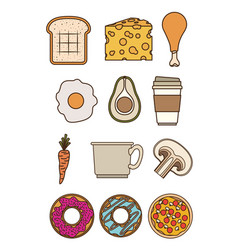 tasty foods colorful set over white background vector image