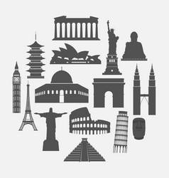 Travel landmarks icon set vector