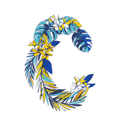 tropical floral summer letter c hand drawn vector image
