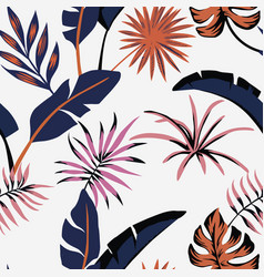 Tropical leaves abstract color seamless white vector