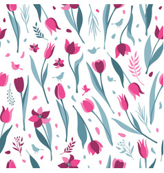 tulip seamless pattern on white background vector image