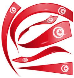 tunisia flag set isolated on white background vector image
