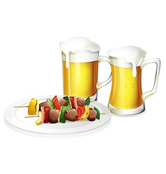 Two glasses of beer with a plate of barbeque vector image