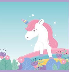 unicorn flowers rainbow decoration fantasy magic vector image