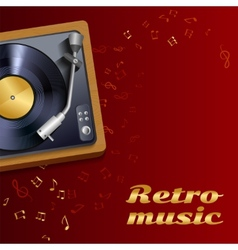 Vinyl record player poster vector