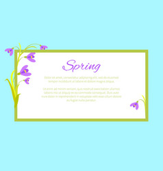 violet flowers in corners frame text vector image