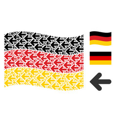 Waving german flag collage of arrow left icons vector