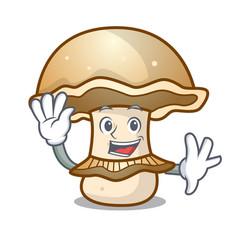 Waving portobello mushroom character cartoon vector
