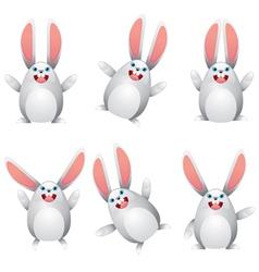 White egg bunny vector image