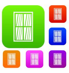 white latticed rectangle window set color vector image