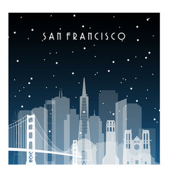 Winter night in san francisco night city in flat vector