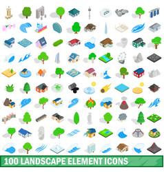 100 landscape element icons set isometric style vector image