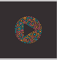 abstract media logo in line style vector image vector image