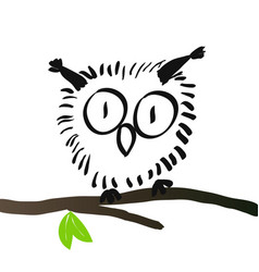 charming owl hand drawing vector image vector image