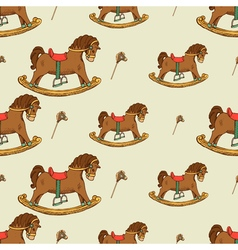 Rocking horse seamless pattern vector image vector image