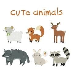 Sheep fox deer wolf rabbit and raccoon mascot vector