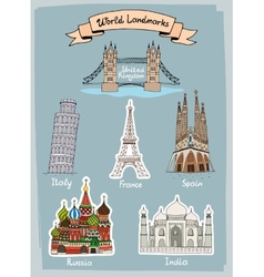 World Landmarks hand-drawn icons set vector image vector image