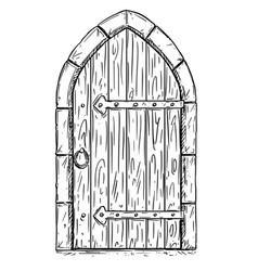 cartoon drawing of wooden medieval door closed or vector image
