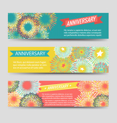 colorful anniversary banners with fireworks vector image vector image