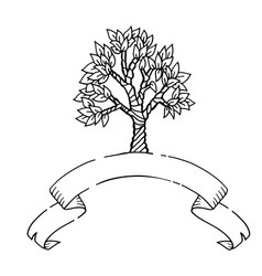 hand drawn scetch tree with ribbon banner vector image vector image