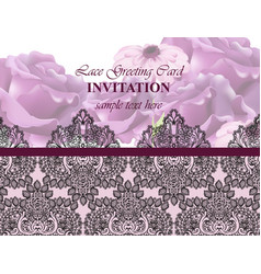 lace card with flowers luxury background vector image