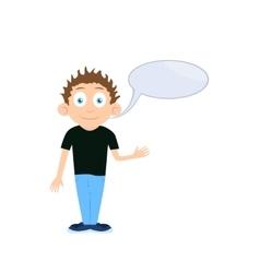 boy cartoon character talking with empty vector image