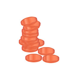 bronze coins pile realistic bronze coins vector image