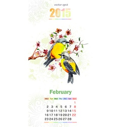 calendar for 2015 february vector image vector image