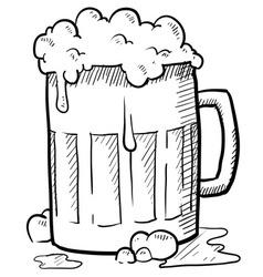 doodle beer mug vector image