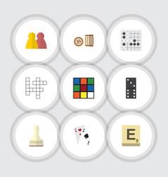 flat icon games set of guess mahjong pawn and vector image