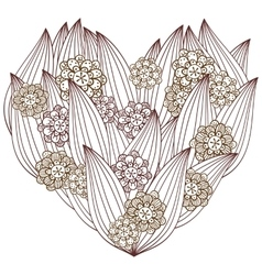 Heart adult coloring page Whimsical Floral design vector image