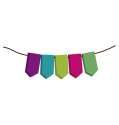 set of colored flags in a rope for decoration vector image