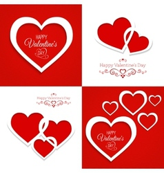 set of greeting cards Happy Valentines Day vector image vector image
