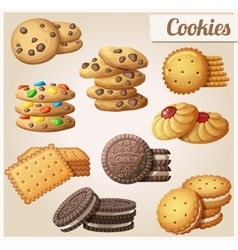 Cookies Set of cartoon food icons vector image