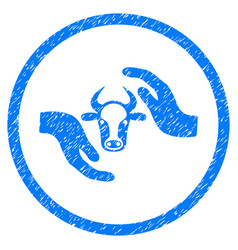 Cow protection hands rounded grainy icon vector