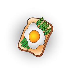 Egg toast with green salad healthy breakfast fresh vector