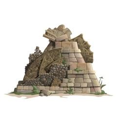 Ruins of antique Mayan pyramid cartoon style vector image