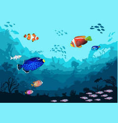 sea underwater world with bright fish and animals vector image vector image