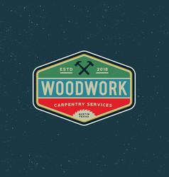 vintage carpentry logo retro styled wood works vector image
