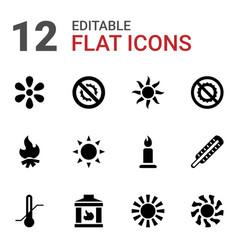 12 heat icons vector image